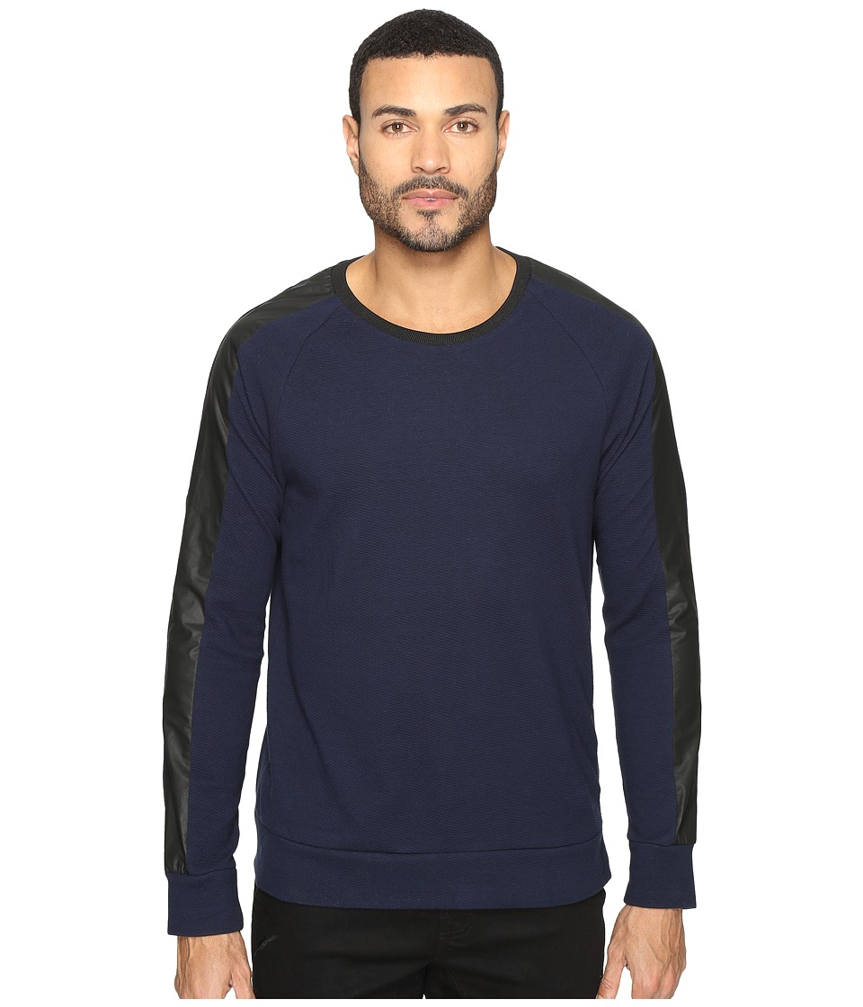 Kenneth Cole Sportswear - Texture Crew with Nylon (Indigo) Men's Clothing