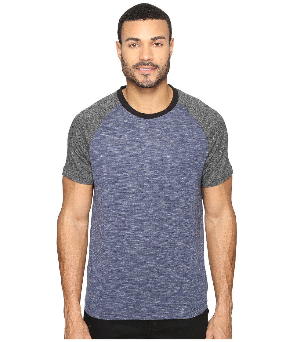 Kenneth Cole Sportswear - Color Block Melange Crew (Indigo Heather) Men's T Shirt
