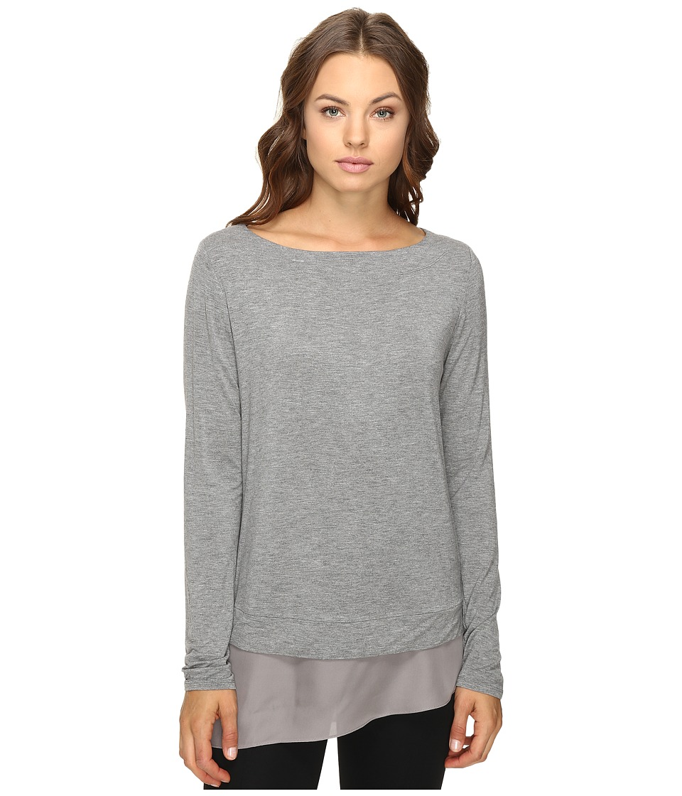 HEATHER - Silk Hem Pullover (Light Heather Grey) Women's Clothing