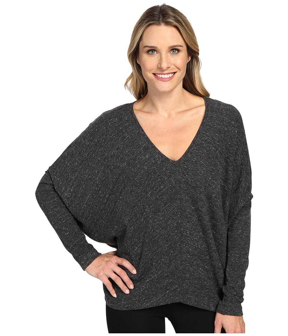 HEATHER - Long Sleeve Slouchy Wedge Top (Heather Charcoal) Women's Clothing