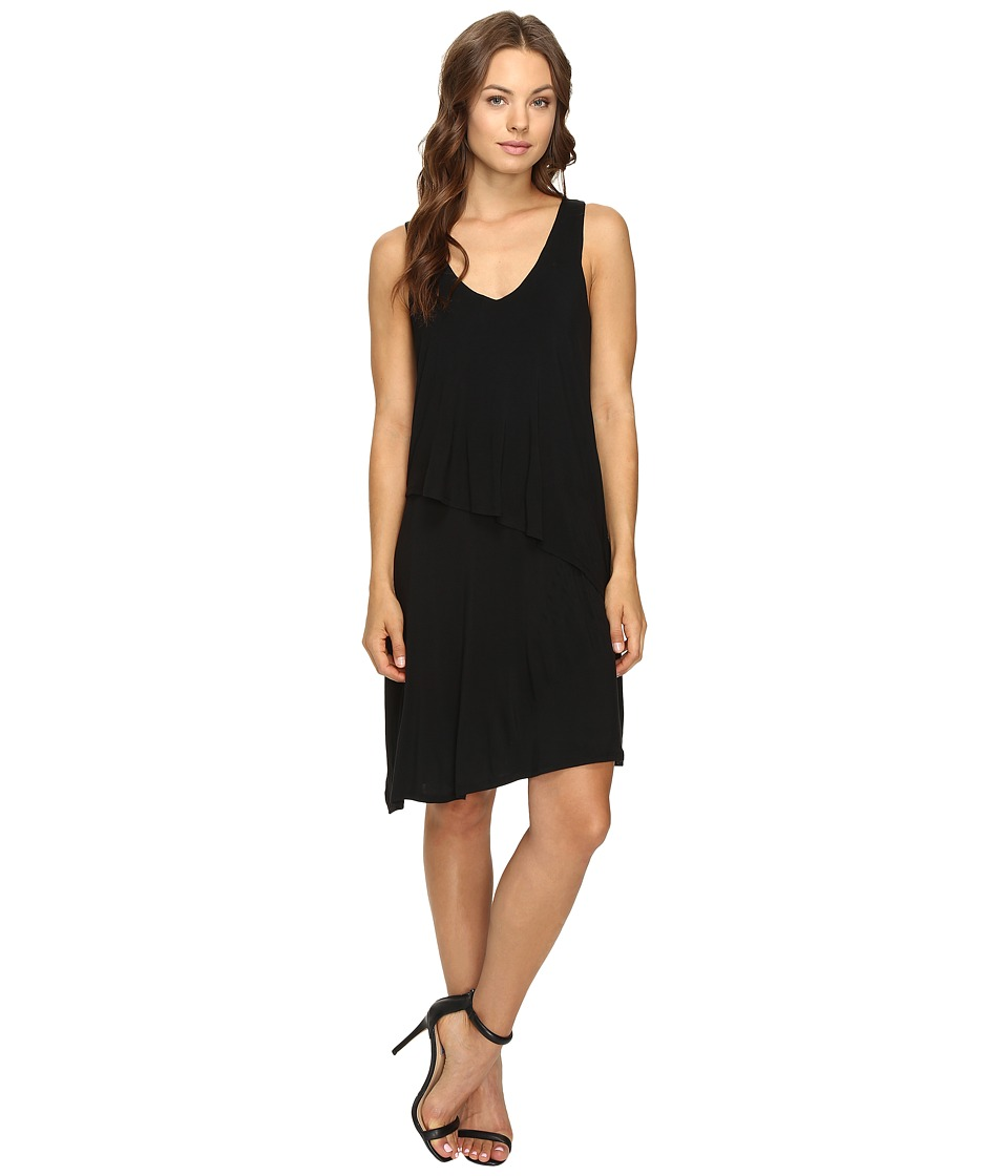 HEATHER - Asymmetric Layered Dress (Black) Women's Dress