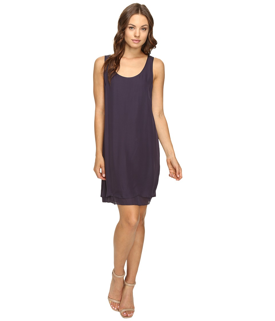 HEATHER - Double Layer Silk Scoop Neck Dress (Licorice) Women's Dress