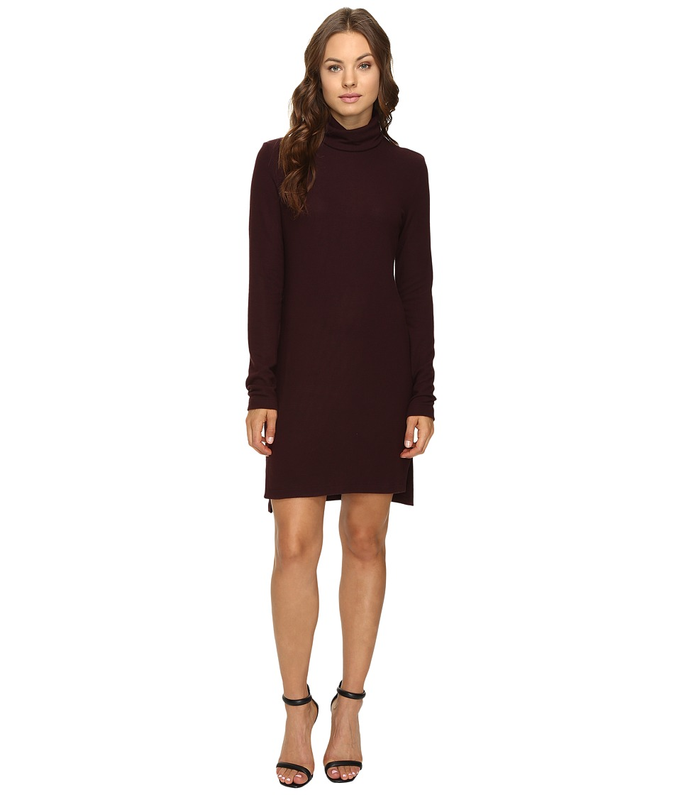 HEATHER - Brushed Hacci Long Sleeve Dress (Rosewood) Women's Dress
