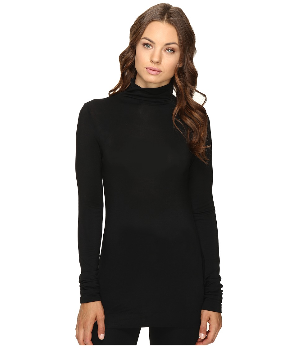 HEATHER - Long Sleeve Mock Neck Tee (Black) Women's T Shirt