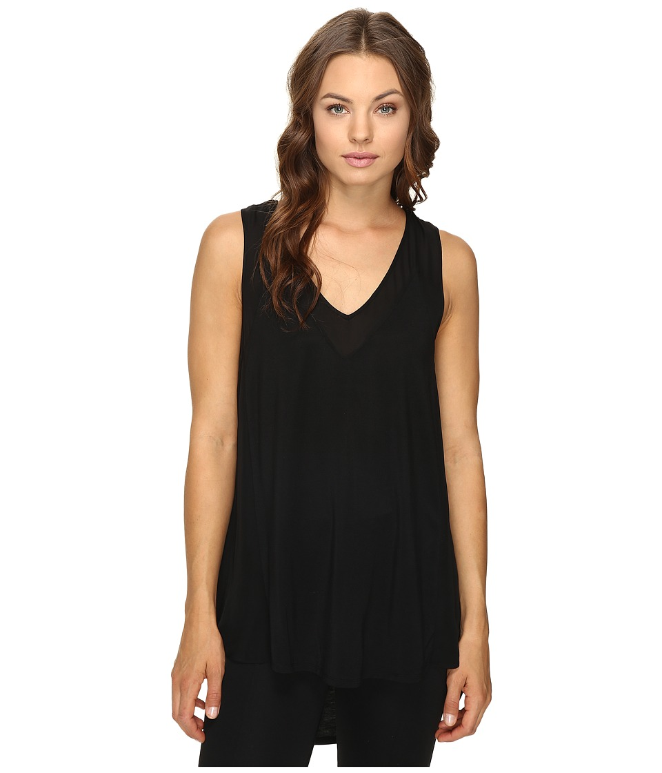 HEATHER - Silk Panel Swing Tank Top (Black) Women's Sleeveless