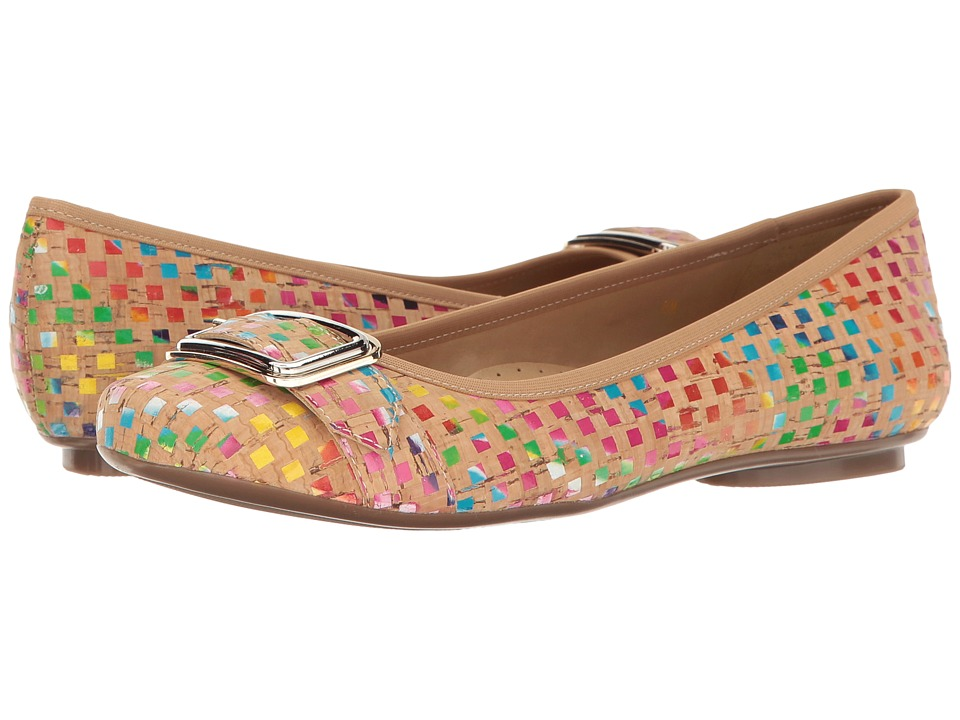 Vaneli - Solana (Multi Spiral Cork/Gold/Silver Buckle) Women's Slip on Shoes