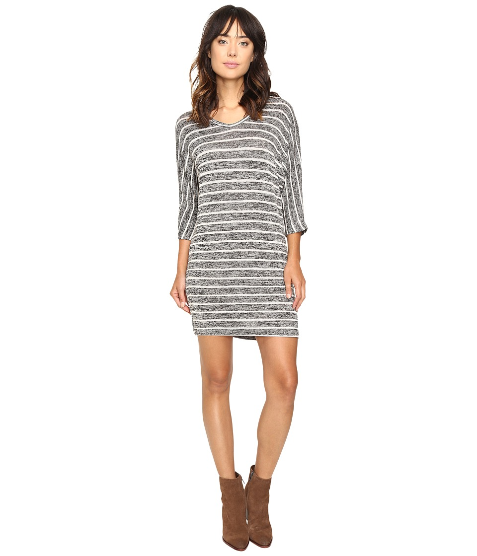 Culture Phit Gela Dolman Sleeve Striped Dress (Charcoal/White) Women