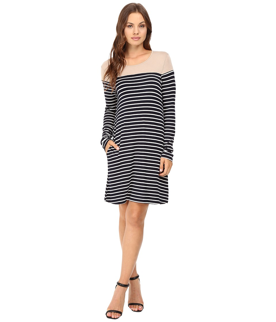 Culture Phit - Jamari Color Block Long Sleeve Dress (Taupe/White) Women's Dress