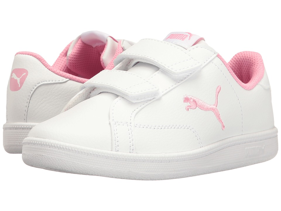 Puma Kids - Smash Cat L V PS (Little Kid/Big Kid) (Puma White/Prism Pink) Girls Shoes