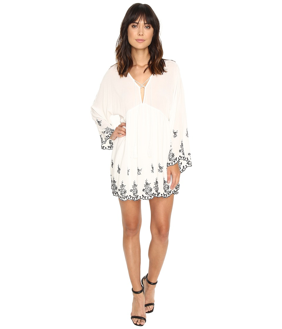 Brigitte Bailey Belisa Long Sleeve Embroidered Lace-Up Dress (Ivory/Black) Women