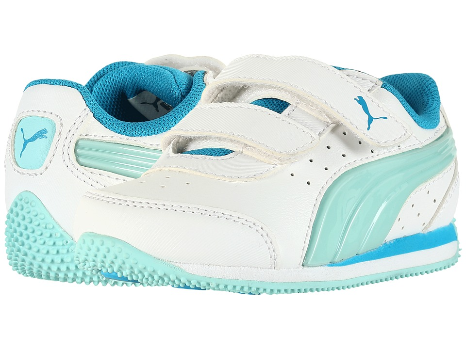 Puma Kids - Speed Light Up Power V INF (Toddler) (Puma White/Aruba Blue) Girls Shoes