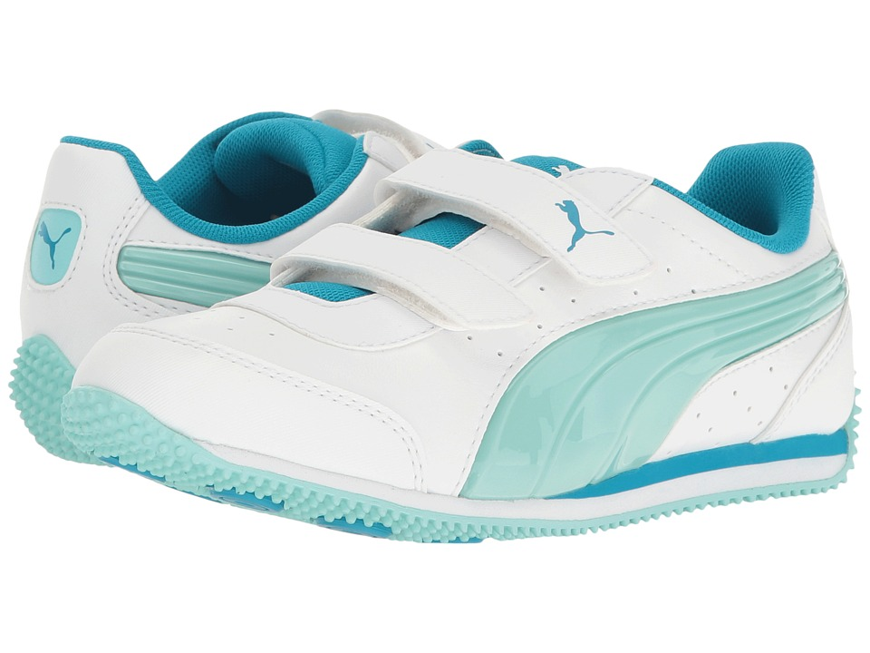 Puma Kids - Speed Light Up Power V PS (Little Kid/Big Kid) (Puma White/Aruba Blue) Girls Shoes