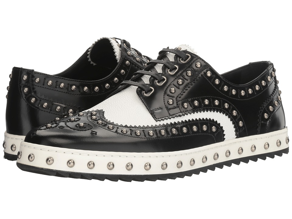 Dolce & Gabbana - Studded Wingtip Oxford (Black/White) Men's Lace up casual Shoes