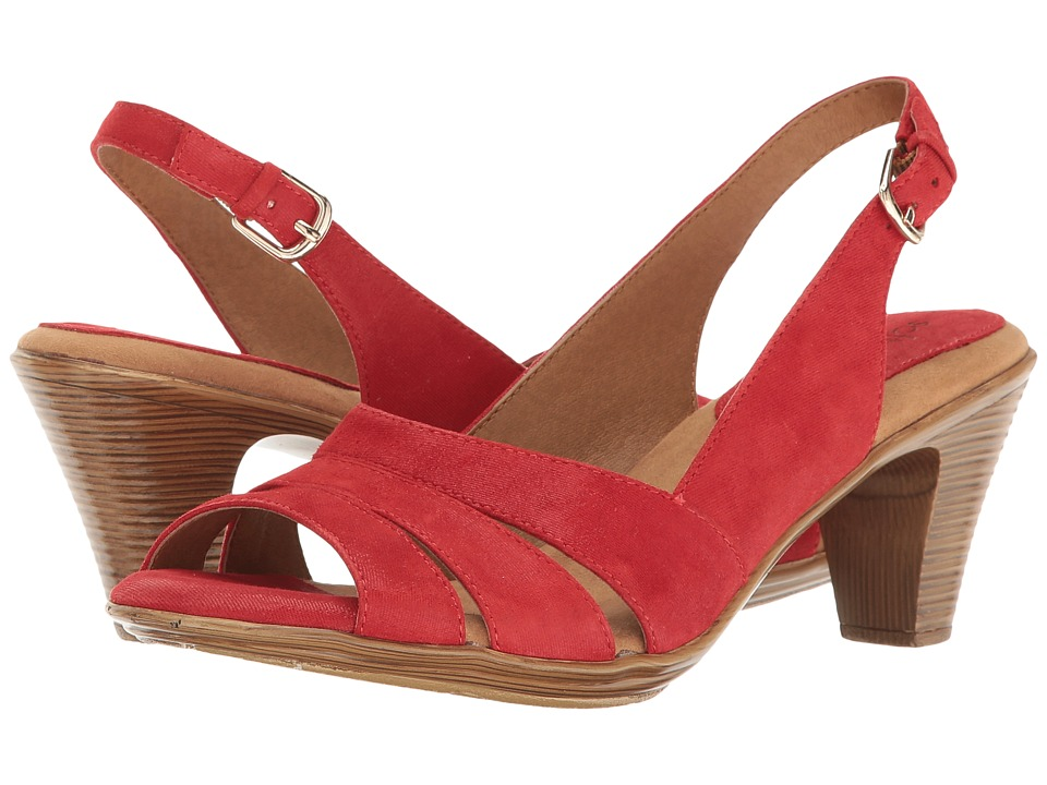 Comfortiva - Neima - Soft Spots (Lipstick Red Mini Dot Suede) Women's Dress Sandals