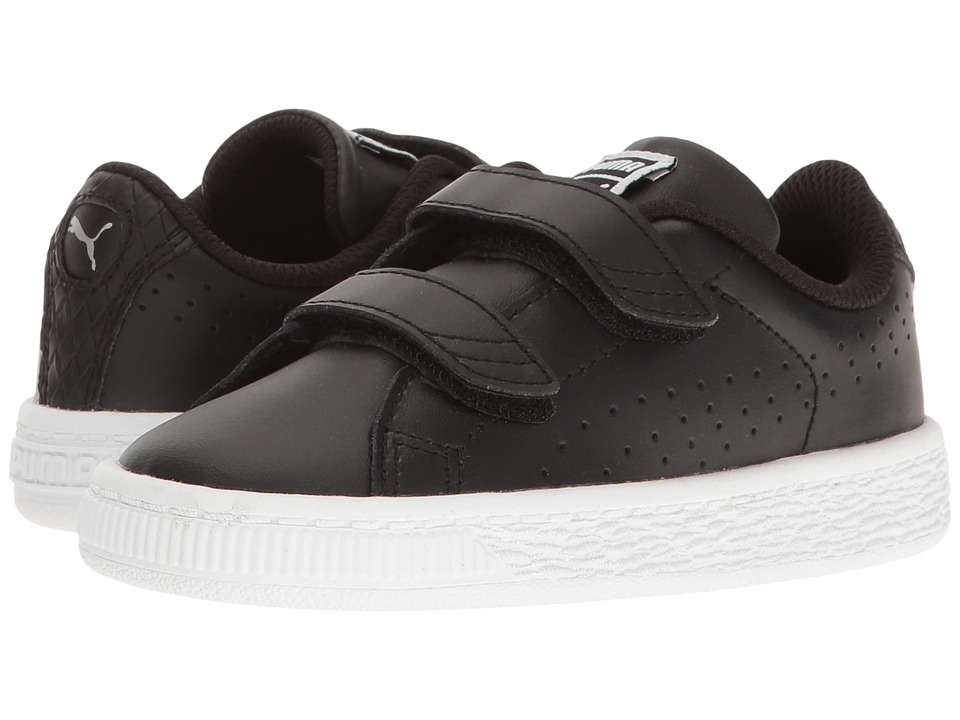 Puma Kids Basket Classic Velcro BW INF (Toddler) (Puma Black/Puma Black) Kids Shoes