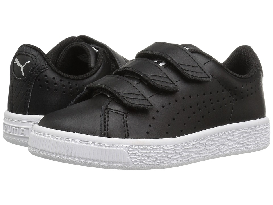 Puma Kids Basket Classic Velcro BW PS (Little Kid/Big Kid) (Puma Black/Puma Black) Kids Shoes