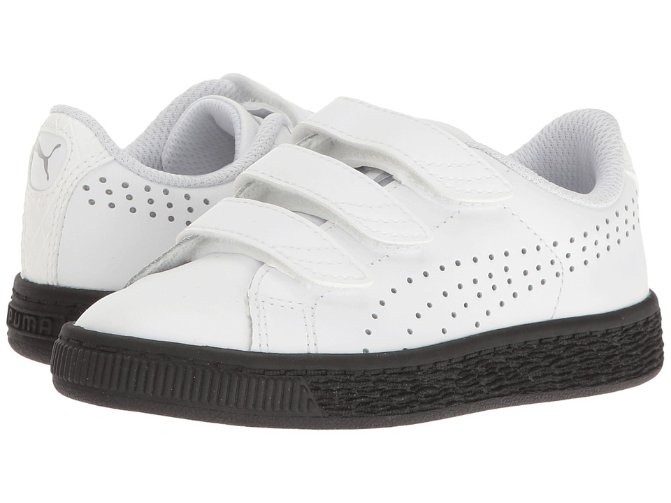 Puma Kids - Basket Classic Velcro BW PS (Little Kid/Big Kid) (Puma White/Puma White) Kids Shoes