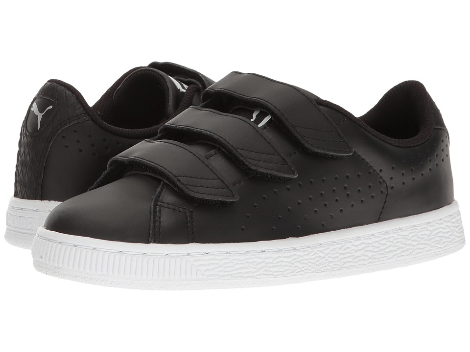 Puma Kids Basket Classic Velcro BW Jr (Big Kid) (Puma Black/Puma Black) Kids Shoes