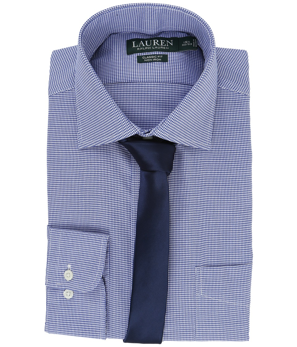 LAUREN Ralph Lauren - Basket Weave Spread Collar Classic Button Down Shirt (Royal/White) Men's Long Sleeve Button Up