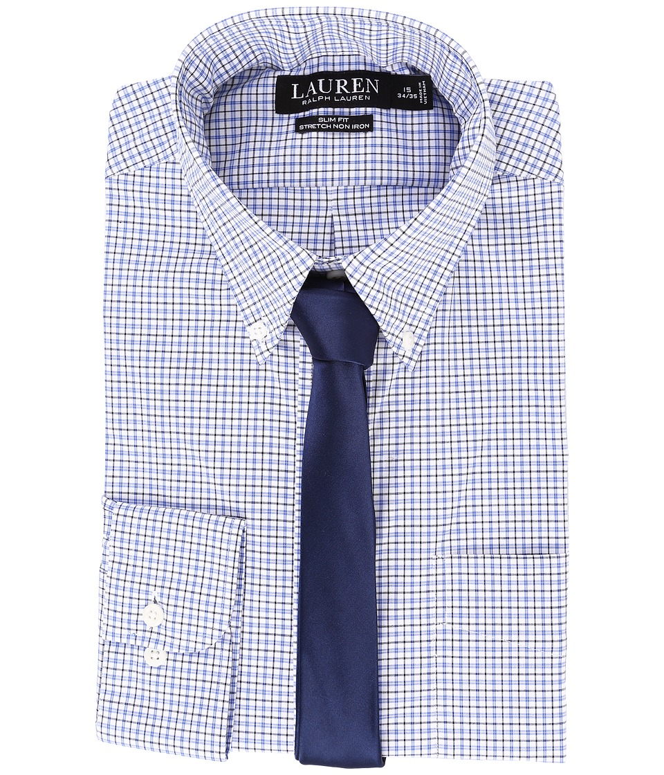 LAUREN Ralph Lauren - Stretch Poplin Button Down Collar Slim Button Down Shirt (White/Blue Multi) Men's Long Sleeve Button Up