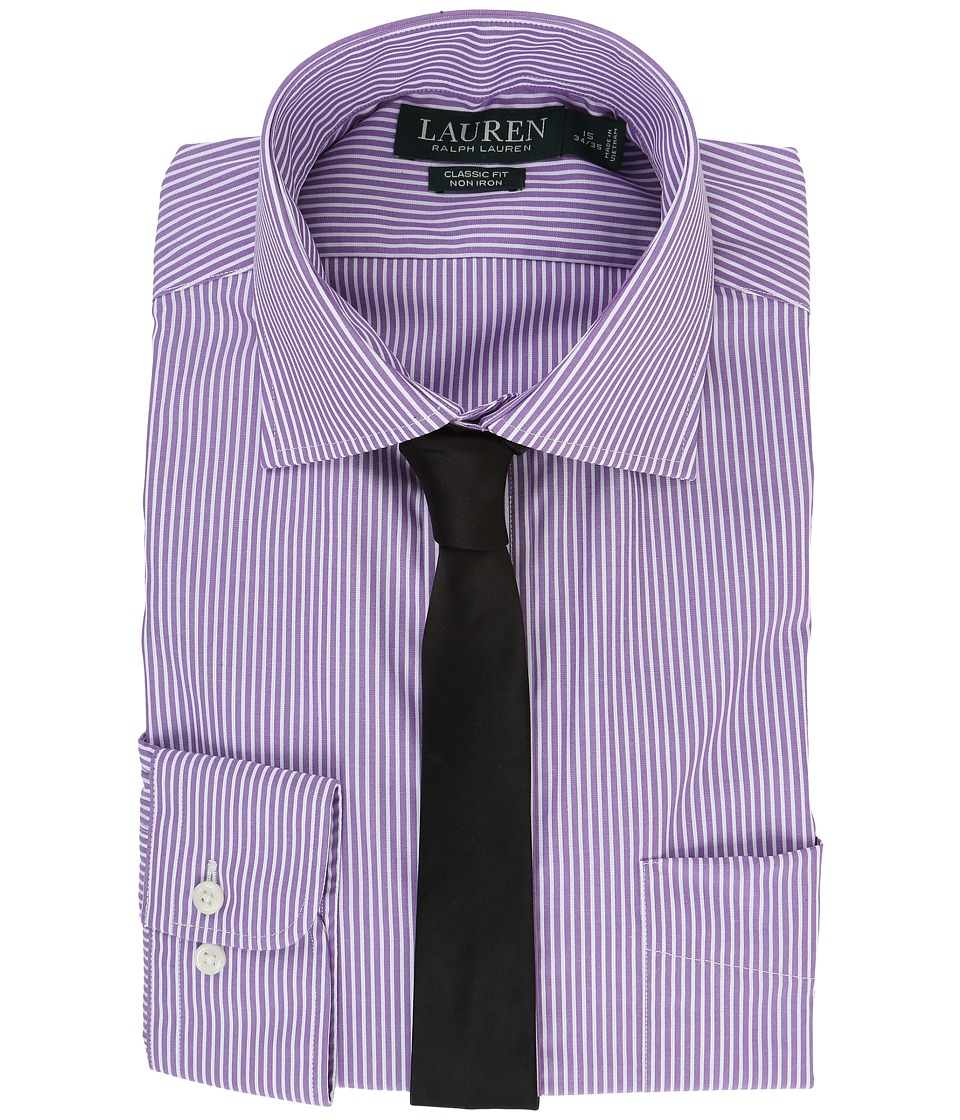 LAUREN Ralph Lauren - Poplin Stripes Spread Collar Classic Button Down Shirt (Purple/White) Men's Long Sleeve Button Up