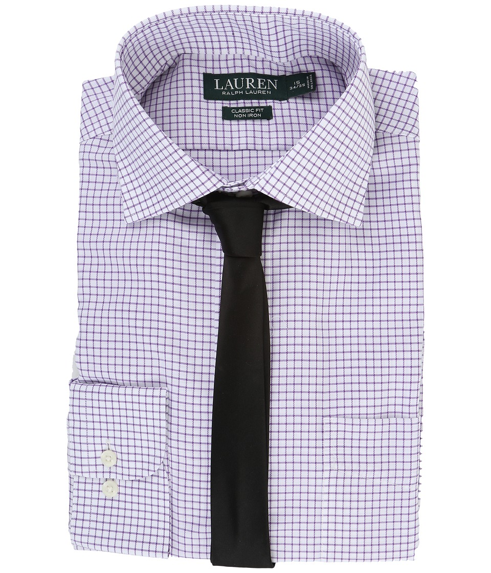 LAUREN Ralph Lauren - Twill Check Spread Collar Classic Button Down Shirt (White/Lilac) Men's Long Sleeve Button Up