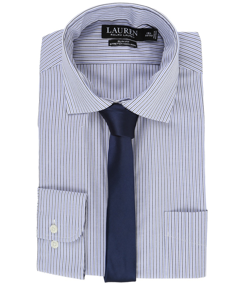 LAUREN Ralph Lauren - Stretch Poplin Spread Collar Slim Button Down Shirt (Blue/White Multi) Men's Long Sleeve Button Up