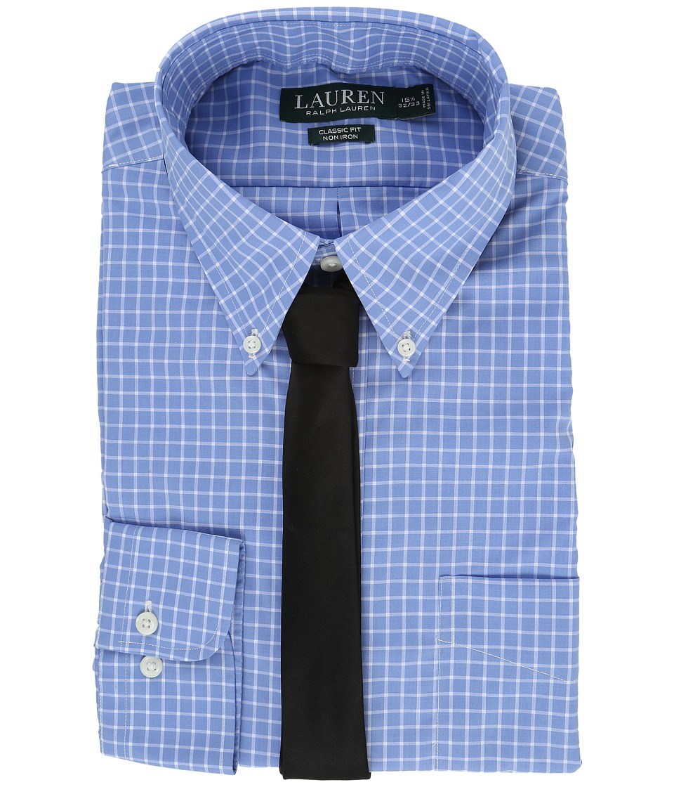 LAUREN Ralph Lauren - Poplin Checks Button Down Collar Classic Button Down Shirt (Blue/White) Men's Long Sleeve Button Up