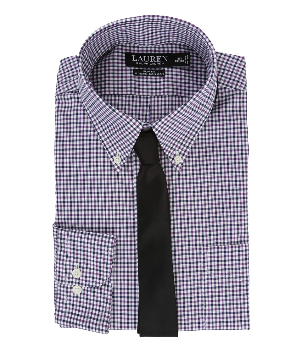 LAUREN Ralph Lauren - Stretch Poplin Button Down Collar Slim Button Down Shirt (Purple/White Multi) Men's Long Sleeve Button Up