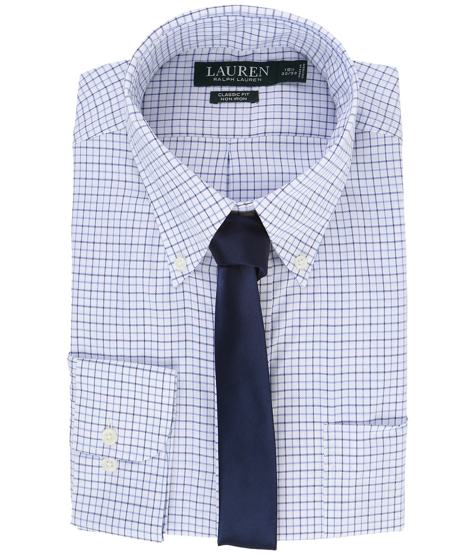 LAUREN Ralph Lauren - Basket Weave Check Spread Collar Classic Button Down Shirt (White/Blue Multi) Men's Long Sleeve Button Up