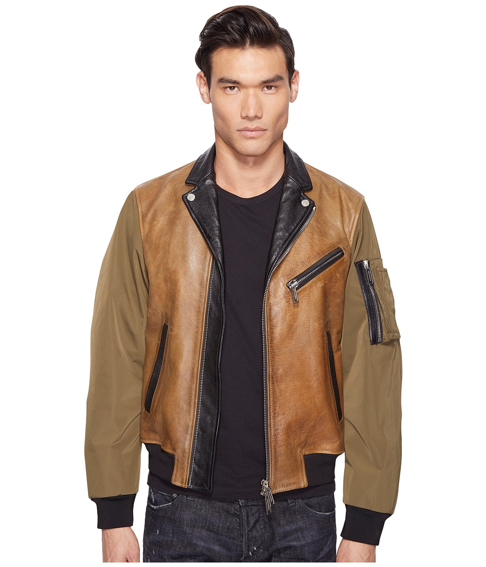 DSQUARED2 - Military Glam Kiodo Bomber (Camel/Green/Black) Men's Coat