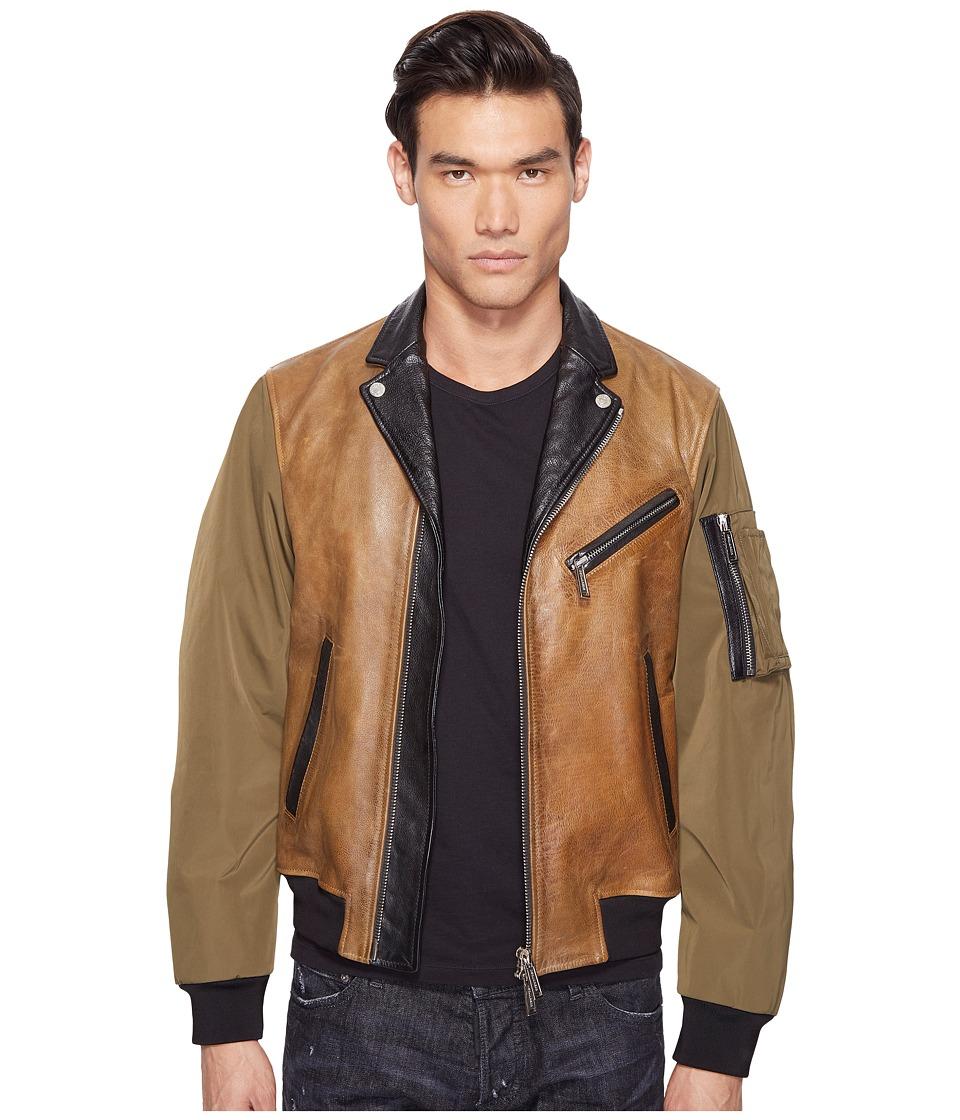 DSQUARED2 - Military Glam Kiodo Bomber (Camel/Green/Black) Men's Coat