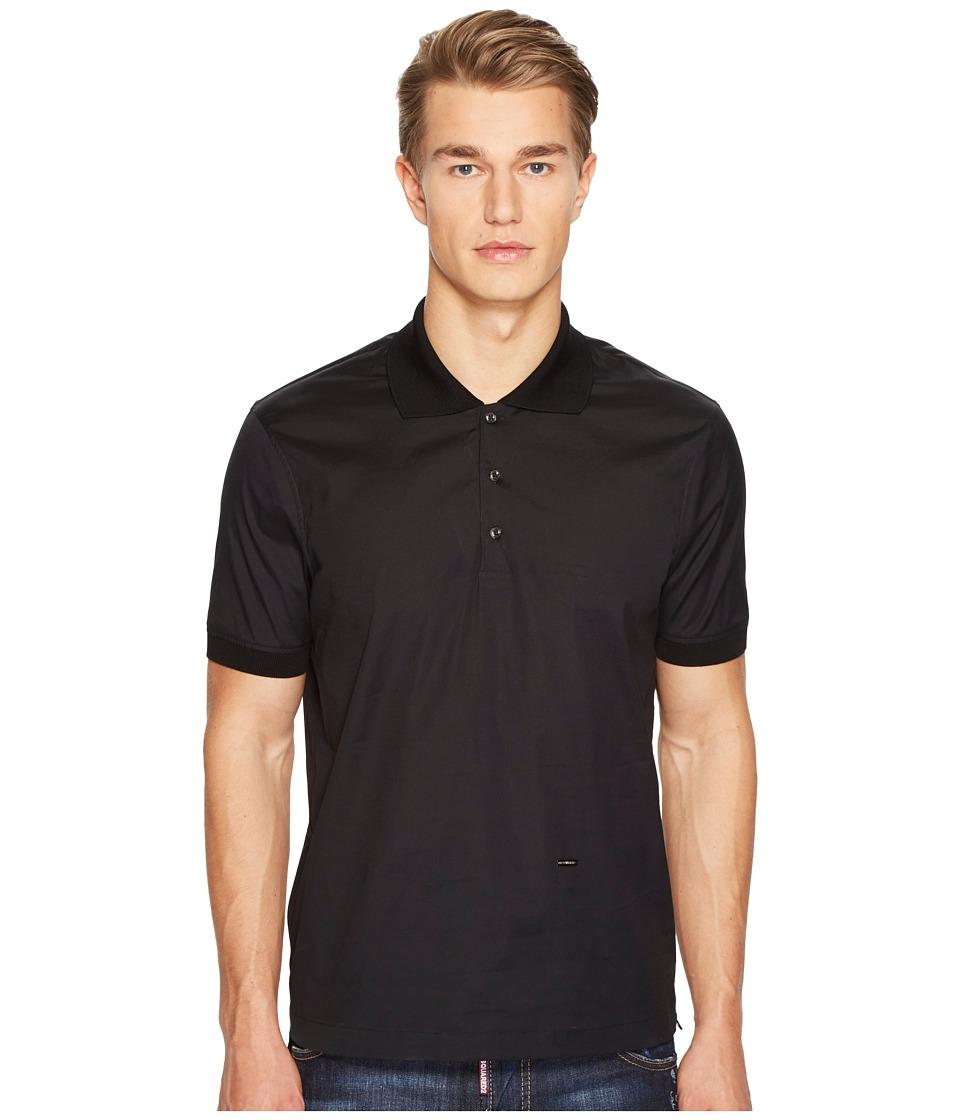 DSQUARED2 - Street Ska Poplin Polo Shirt (Black) Men's Clothing