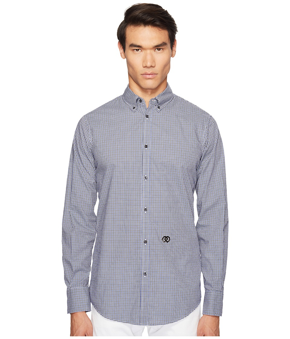 DSQUARED2 - Street Ska Micro Check Shirt (Black/Blue/White) Men's Clothing