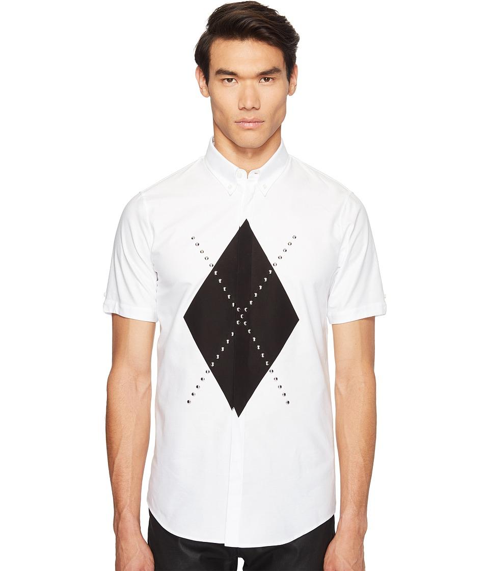 DSQUARED2 - Mod Evening Argyle Shirt (White) Men's Clothing
