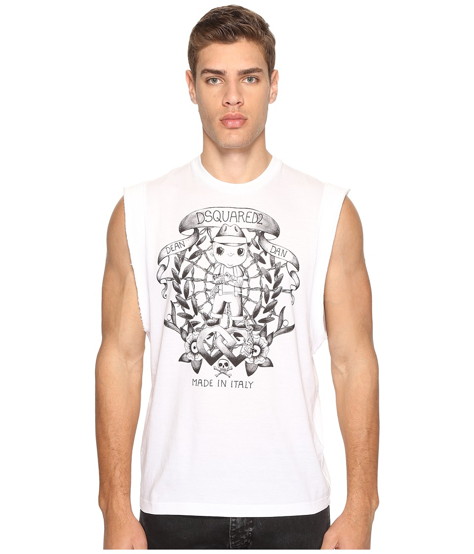 DSQUARED2 - Street Ska Sleeveless T-Shirt (White) Men's T Shirt
