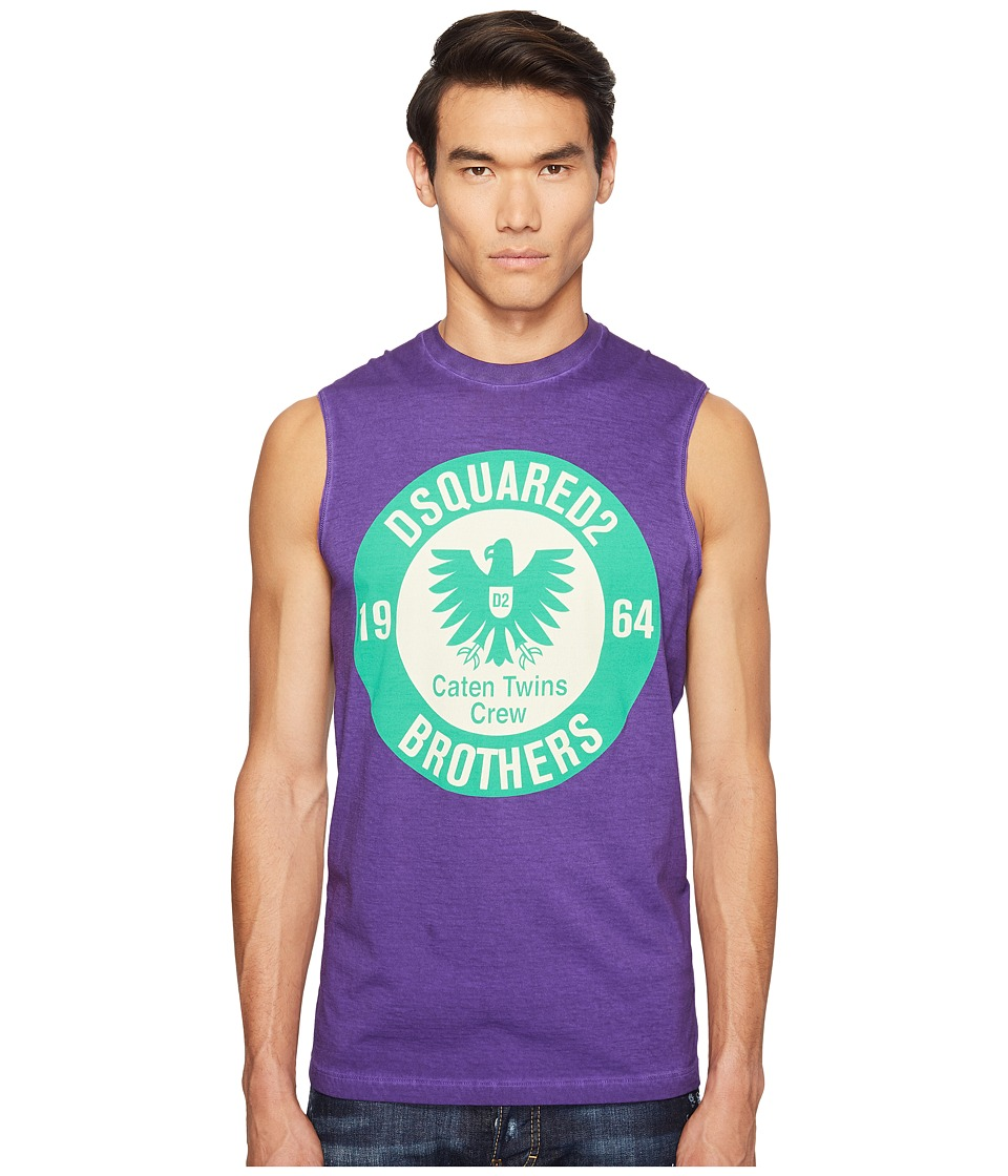 DSQUARED2 - Military Glam Sleeveless T-Shirt (Purple) Men's T Shirt