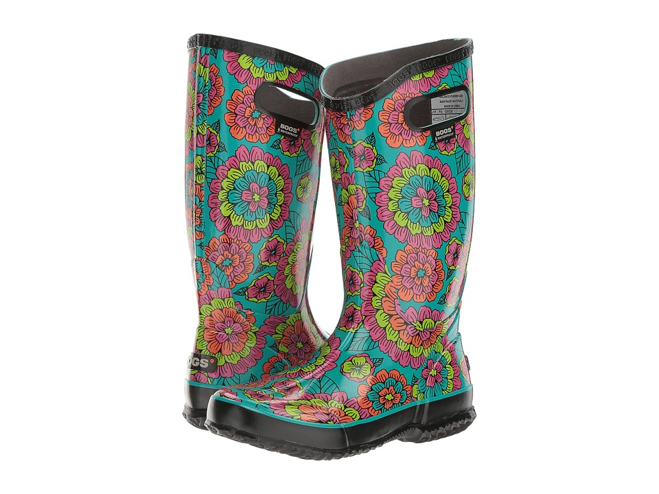 Bogs Rain Boot Pansies (Black Multi) Women