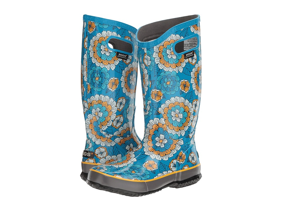 Bogs Rain Boot Pansies (Sky Blue Multi) Women