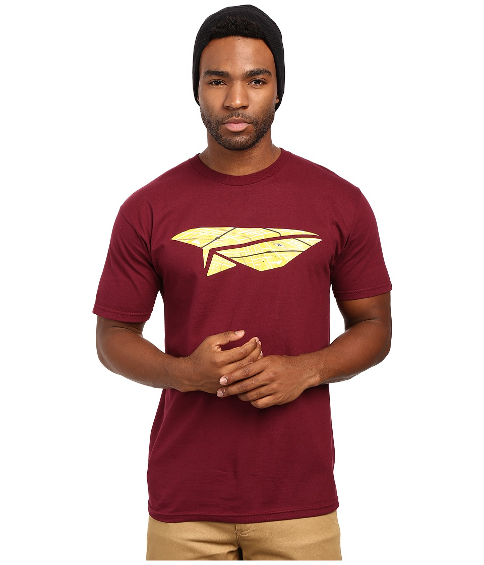 Benny Gold - Paper Plane Map Tee (Burgundy) Men's T Shirt
