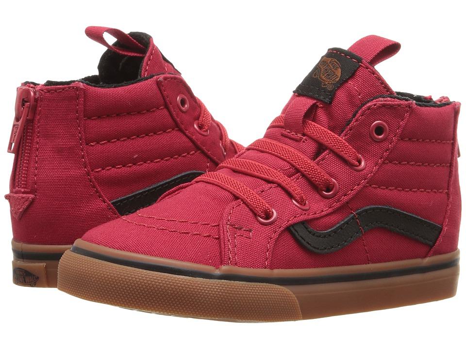 Vans Kids - Sk8-Hi Zip (Toddler) ((Gum) Racing Red/Black) Boys Shoes