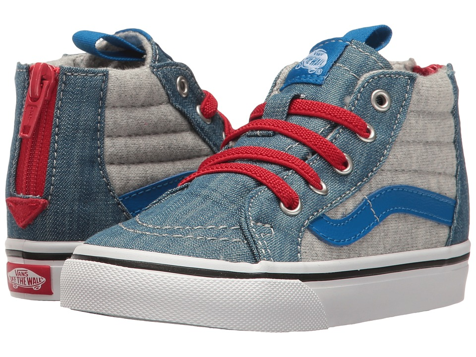 Vans Kids Sk8-Hi Zip (Toddler) ((Jersey & Denim) Imperial Blue/True White) Boys Shoes