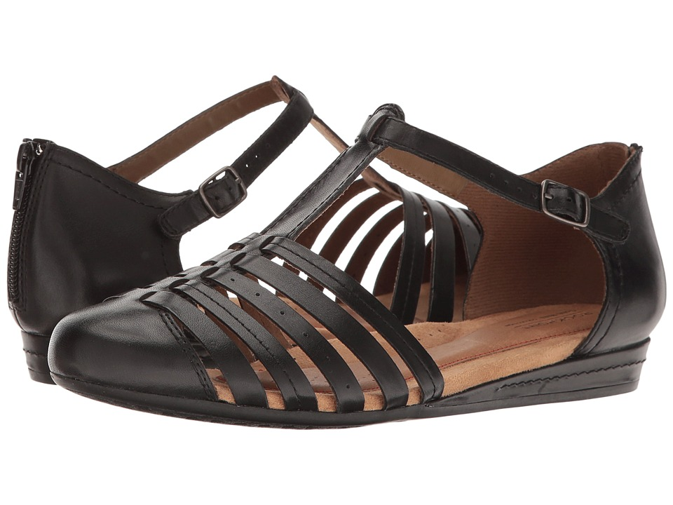 Rockport Cobb Hill Collection Cobb Hill Galway Strappy T (Black Leather) Women