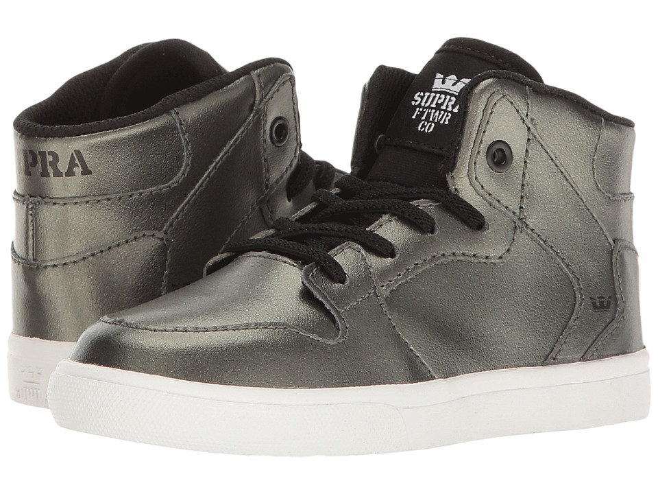 Supra Kids - Vaider (Toddler) (Metallic Pewter/White) Boy's Shoes
