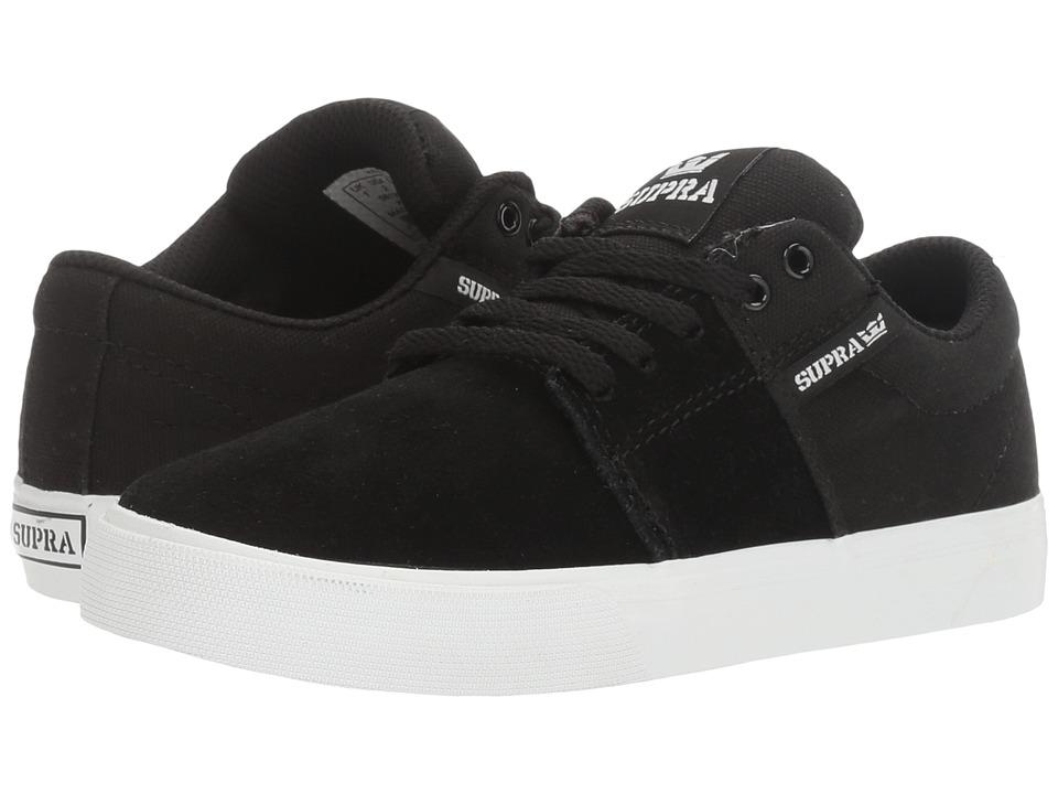 Supra Kids Stacks Vulc II (Little Kid/Big Kid) (Black/White) Boys Shoes