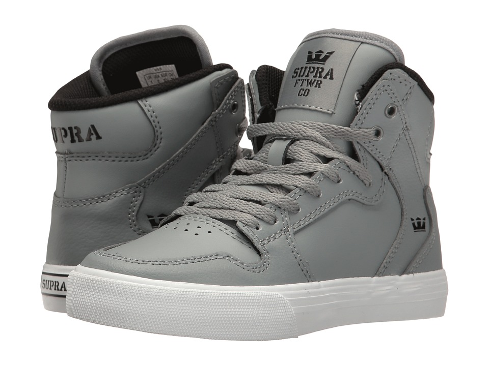 Supra Kids - Vaider (Little Kid/Big Kid) (Grey/White) Boys Shoes