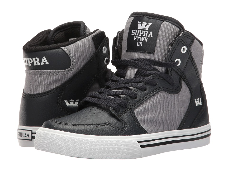 Supra Kids - Vaider (Little Kid/Big Kid) (Dark Grey/Grey/White) Boys Shoes