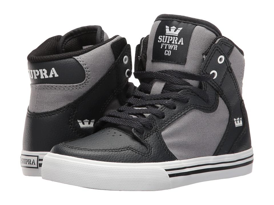 Supra Kids - Vaider (Little Kid/Big Kid) (Dark Grey/Grey/White) Boys Shoes