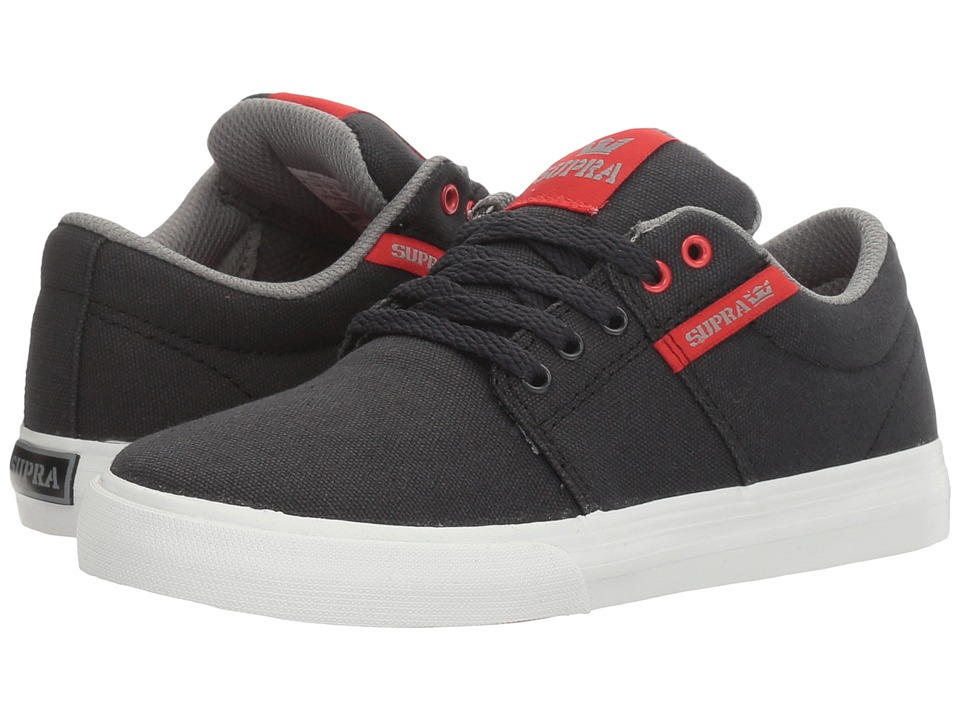 Supra Kids - Stacks Vulc II (Little Kid/Big Kid) (Black/Red/White) Boys Shoes