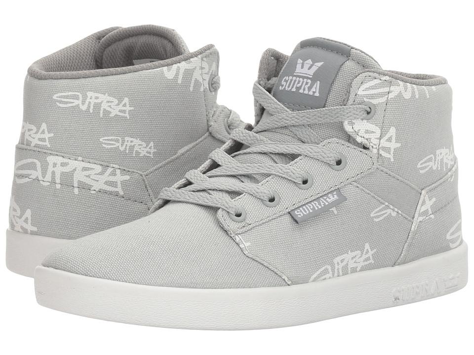 Supra Kids Yorek High (Little Kid/Big Kid) (Grey Print/White) Boys Shoes